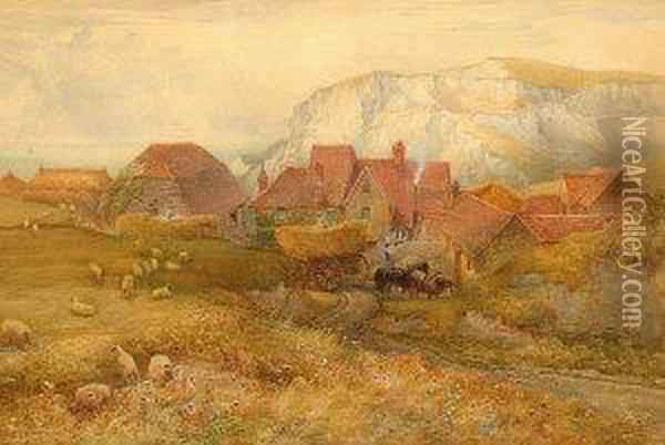 Country Village Scene With Horse And Cart And Sheep Oil Painting - Charles Earle