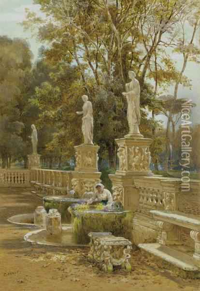 A Woman At A Fountain, Villa Borghese, Rome Oil Painting - Charles Earle