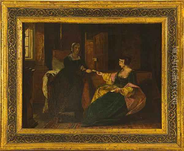 Card Players In Parlor Oil Painting - Augustus Leopold Egg