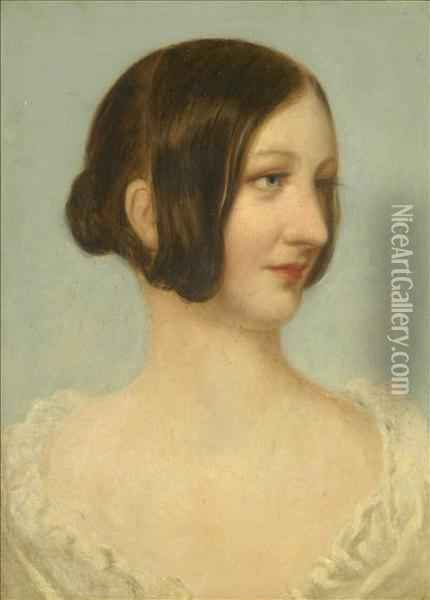 Head Study Of A Young Lady Oil Painting - Augustus Leopold Egg