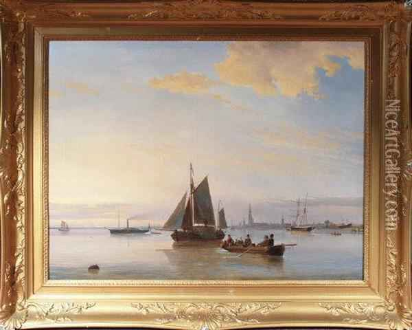 A Harbour Scene With Figures In A Rowing Boat, A Hay-barge And Other Shipping Oil Painting - Egidius Linnig