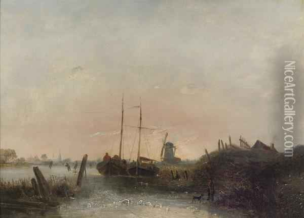 Moored Boats On A Frozen River Oil Painting - Egidius Linnig