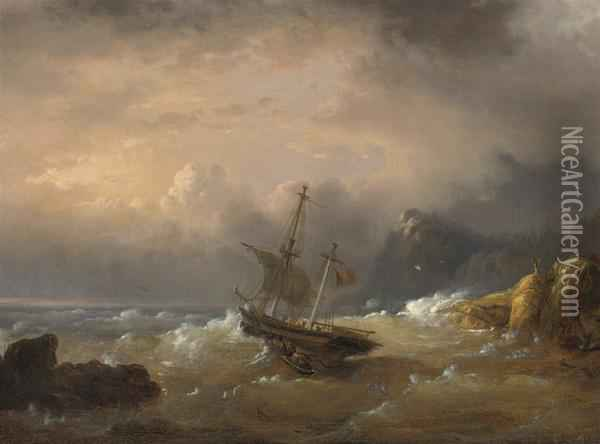 A Sailing Vessel Off A Rocky Coast Oil Painting - Egidius Linnig