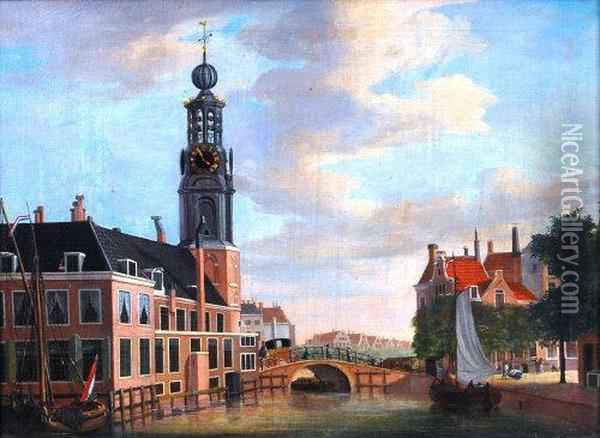 With Figures And Carriageon A Bridge Over The Canal, Oil On Canvas, Signed And Dated Lowerleft 1787, 55 X 76cm Oil Painting - Jan the Younger Ekels