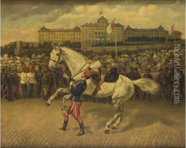 A Military Parade In North Italy With A Hussar Leading A Grey Horse Oil Painting - Wilhelm Emele