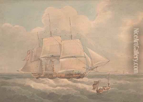 The Frigate 'h.m.s. Hind' Running Up The Channel Oil Painting - John Emery