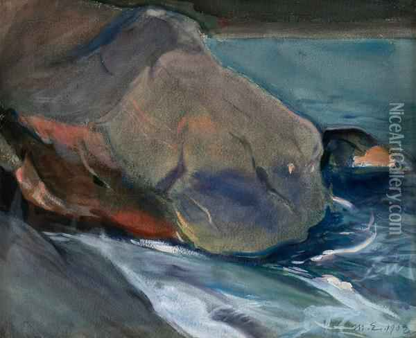 Cliffs On The Shore Oil Painting - Magnus Enckell