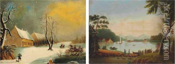 Winter Scene And River Scene Oil Painting - Eliza Mary Eyre