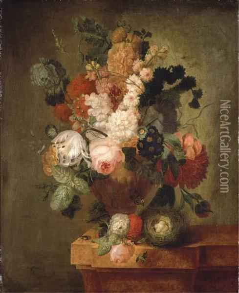Roses, Carnations, A Tulip And Other Flowers Oil Painting - Pieter Faes
