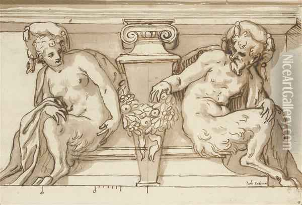An Architectural Design With Male And Female Satyrs Supporting A Pediment Oil Painting - Paolo Farinati