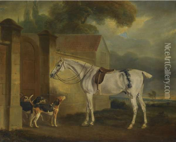 Lord Lonsdale's Fleabitten Grey Hunter, Brass, At Cottesmore With The Cottesmore Hounds Oil Painting - John Snr Ferneley
