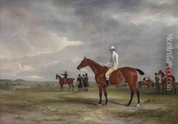Clinker With Captain Horatio Ross Up, Radical With Captain Douglas Up And Other Horses Beyond Oil Painting - John Snr Ferneley