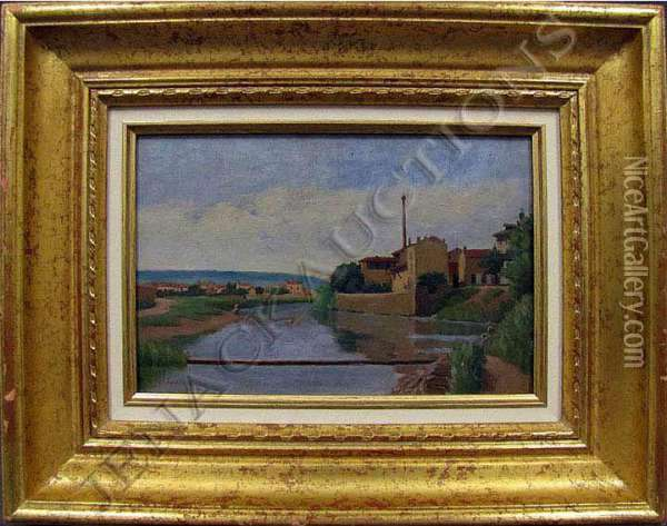 River Landscape With Figures Oil Painting - Jacques Eugene Feyen