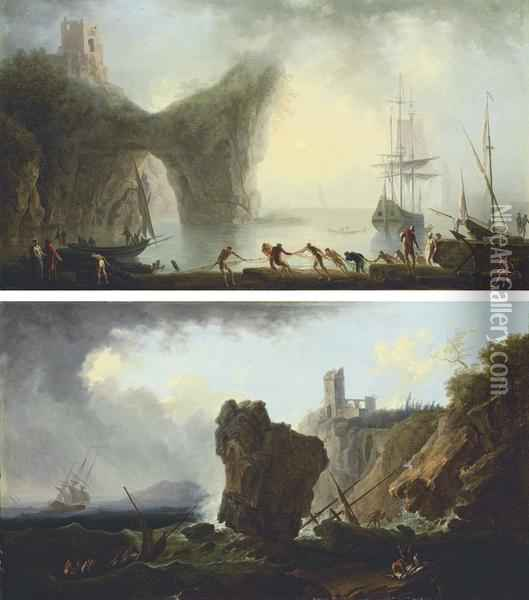 A Coastal Landscape With A Natural Arch And Fishermen Drawing Intheir Nets Oil Painting - Francesco Fidanza