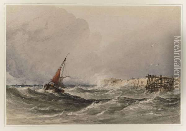 Shipping Off The Coast In Rough Seas Oil Painting - Anthony Vandyke Copley Fielding