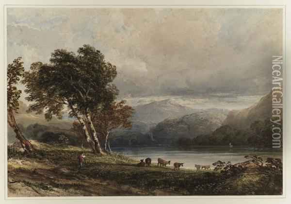 A Cowherd And His Herd Beside A Lake In A Mountainous Landscape Oil Painting - Anthony Vandyke Copley Fielding