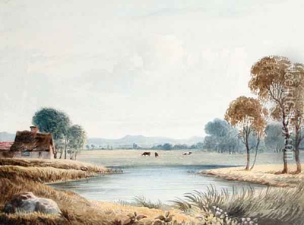 Country Landscape With A Lake And Cattle Oil Painting - Francis Oliver Finch
