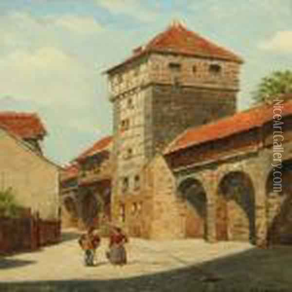 Cityscape From Nurenberg With Couple By Town Wall Oil Painting - August Fischer