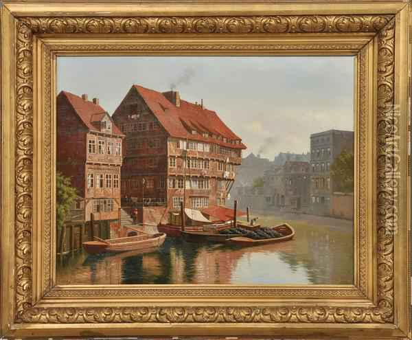 Canal View Oil Painting - August Fischer