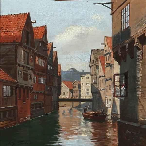 Katharinenfleeth I Hamborg Oil Painting - August Fischer