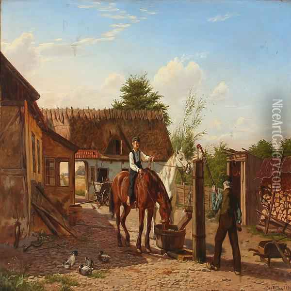 The Horses Are Being Watered On A Sunlitt Farmyard Oil Painting - August Fischer