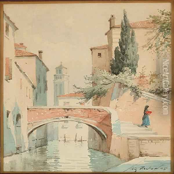 Canal Scene From Venice Oil Painting - August Fischer