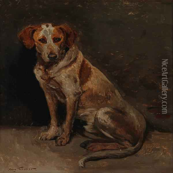 A Dog. Oil Painting - August Fischer