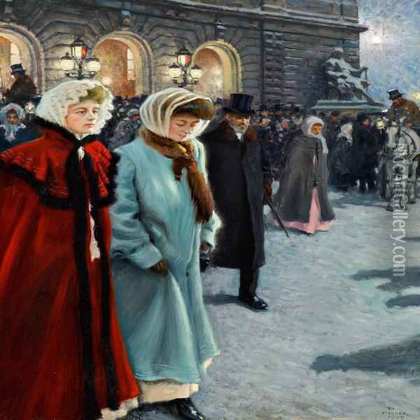 After The Performance Outside Det Kongelige Teater Oil Painting - Paul-Gustave Fischer