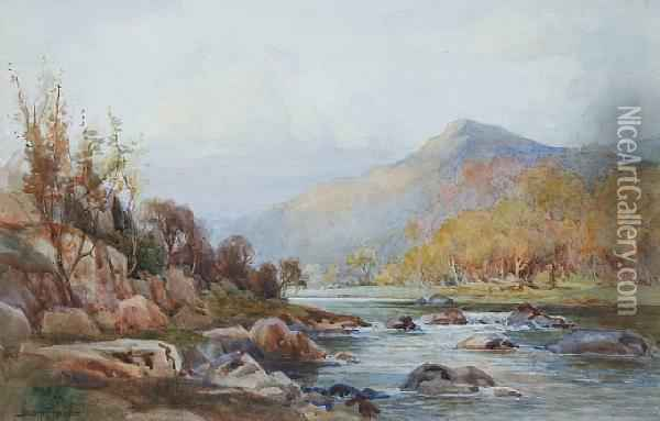 A Rocky River Landscape With Mountains Beyond,together With Another Similar Oil Painting - Joshua Fisher