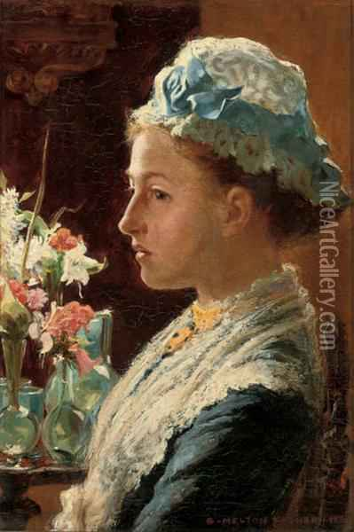 Portrait Of A Lady, Bust-length In Blue Dress With Lace Collar And Cap Oil Painting - Stefani Melton Fisher