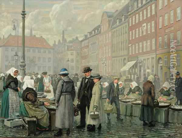 Skovshoved Fisherwomen And Customers At Gammel Strand Oil Painting - Paul-Gustave Fischer