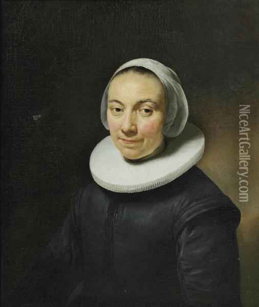 Portrait Of A Lady, Bust-length, In A Black Dress With A White Collar And Headdress Oil Painting - Govert Teunisz. Flinck