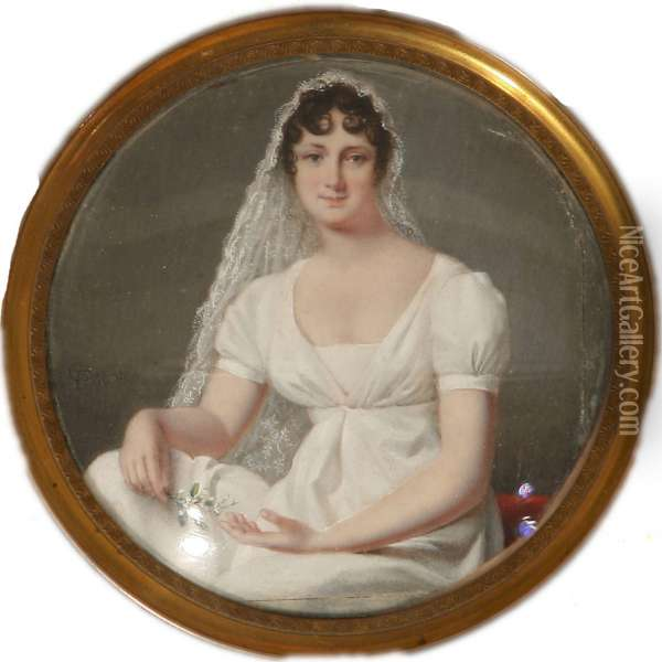 Miniature Portrait Of A Young Bride In White Gown Oil Painting - Jean Francois Gerard Fontallard