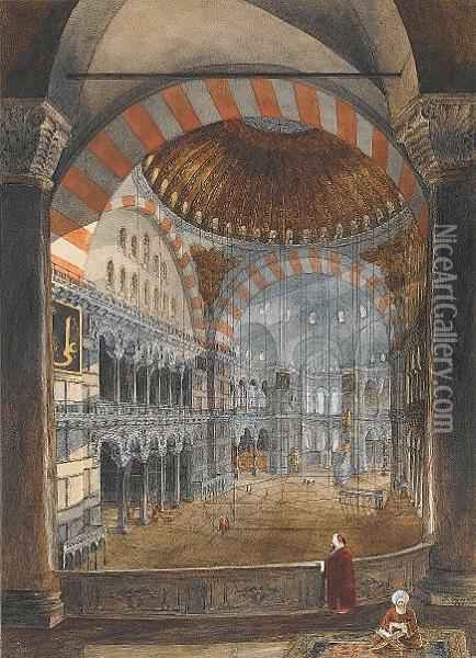 Interior Of Hagia Sophia oil painting reproduction by Gaspard ...