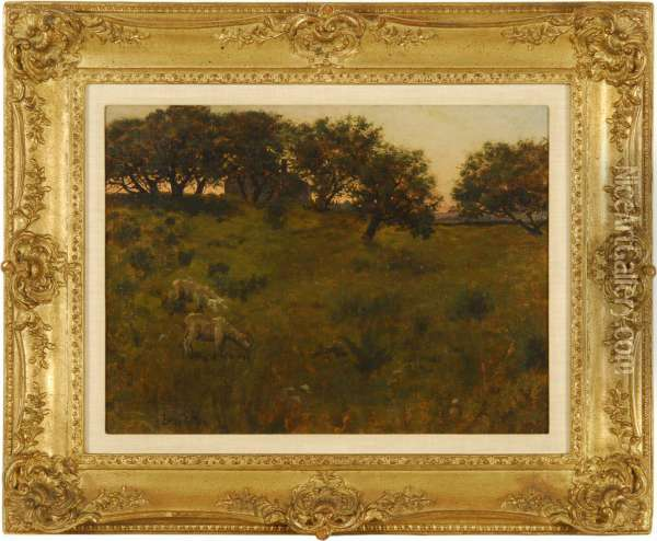 Sheep In A Sunset Meadow Oil Painting - Ben Foster