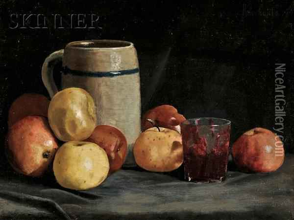 Still Life With Apples And Stein Oil Painting - Ben Foster