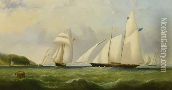 The Yacht Cambria Racing Off Ryde - Isle Of Wight Oil Painting - Arthur Wellington Fowles