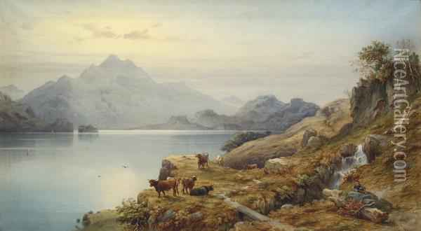 View Of Loch Katrine Oil Painting - Count Alexandre Thomas Francia
