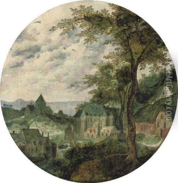 A River Landscape With A Town, A Palace And A Church Oil Painting - Frans Mostaert