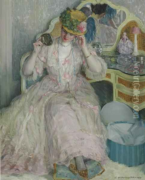 Lady Trying On A Hat Signed And Dated 'f.c. Frieseke- 1909' Oil On Canvas 64¼ X 52 In Oil Painting - Frederick Carl Frieseke