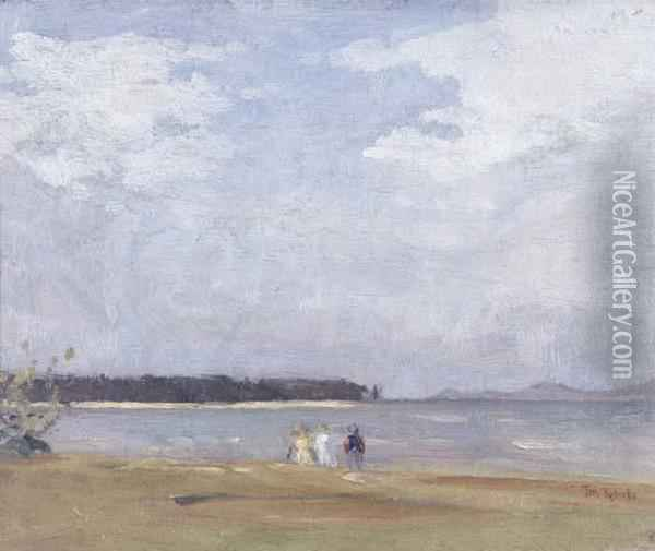 Figures In A Landscape Oil Painting - Thomas William Roberts