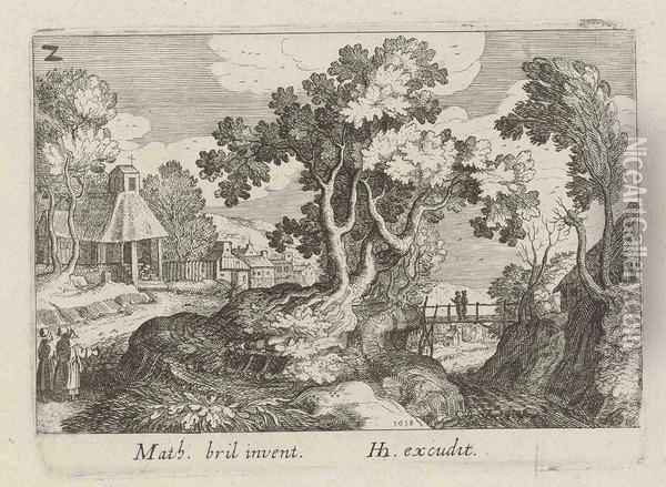 Landscape With Tree In The Centre, From: Topographica Variarum Regionum Oil Painting - Simon Wynouts Frisius