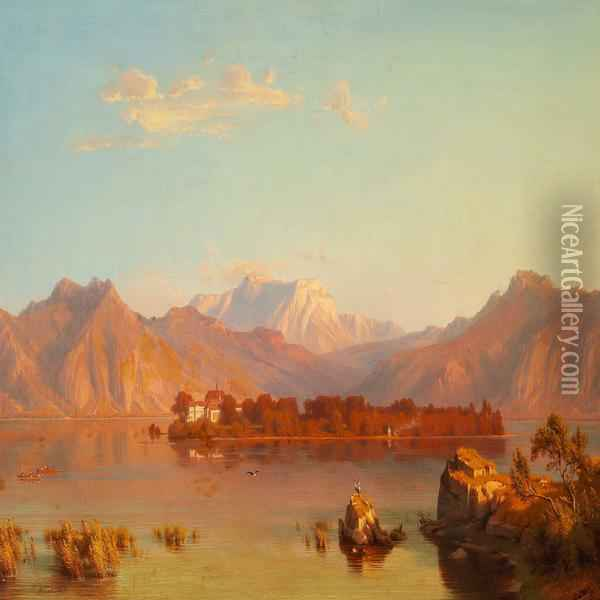 River Scene At Sunset Oil Painting - Heinrich Funk