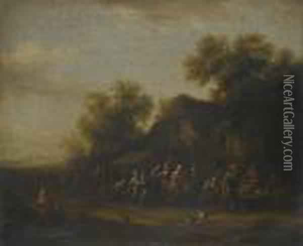 A Fish Market In A Village Square Oil Painting - Barend Gael or Gaal
