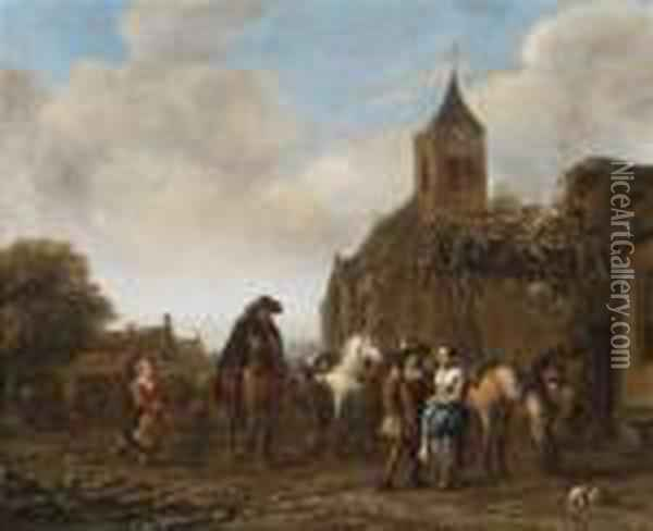 Horsemen Resting On A Village Square Oil Painting - Barend Gael or Gaal