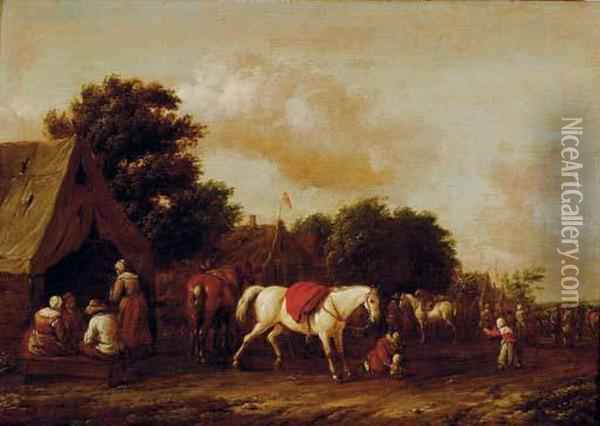 Peasants By A Cottage With A Horse Stalling Oil Painting - Barend Gael or Gaal