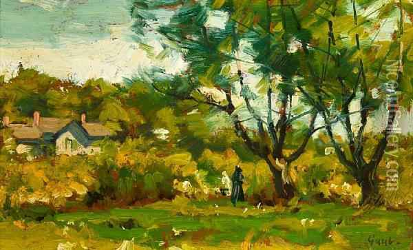 Cottage In The Woods Oil Painting - Gilbert Gaul