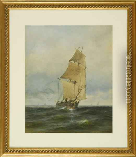Ship At Sea Oil Painting - George Howell Gay