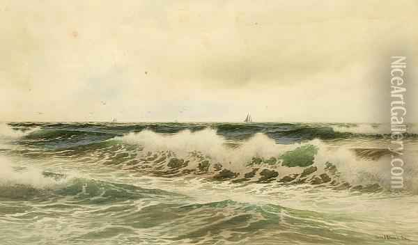 Waves Rolling Onto The Shore Oil Painting - George Howell Gay