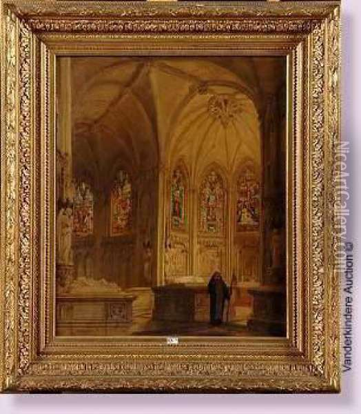 Interieur D'eglise Anime Oil Painting - P. Genisson